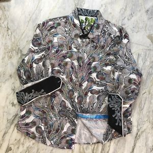 Robert Graham XL Peacock 🦚 Print Shirt